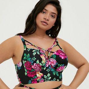 Torrid Black Floral Lattice Underwire Bikini Top
